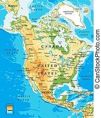 mappa, nord, fisico, america