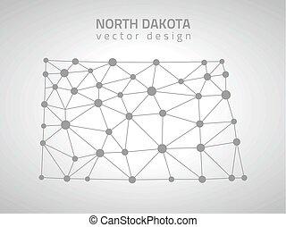 mappa, nord, grigio, vettore, dakota, america, contorno