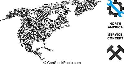 mappa, nord, riparazione, america, attrezzi, composizione