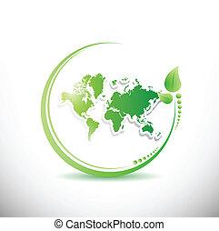 mappa, organico, dentro, illustrazione, leave., mondo