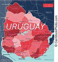 mappa, paese, editable, uruguay, dettagliato