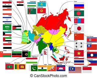 mappa, paese, illustrazione, vettore, asia, flags.