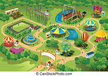 mappa, parco, divertimento
