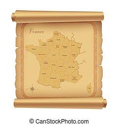 mappa, pergamena, 2, francia