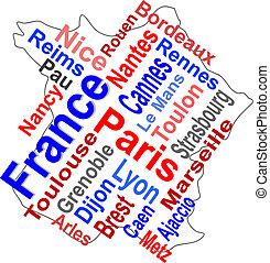 mappa, più grande, francia, parole, città, nuvola