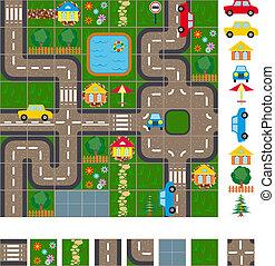 mappa, piano, strade
