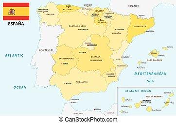 Cartina Spagna Politica Da Stampare.Amministrativo Politico Spagna Mappa Canstock