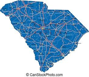 mappa, politico, carolina, sud, stato