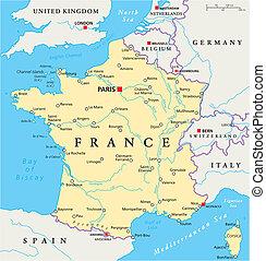 mappa, politico, francia