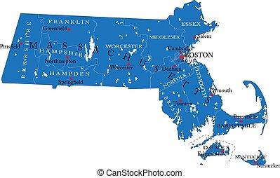 mappa, politico, massachusetts, stato