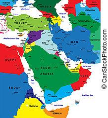 mappa, politico, medio oriente