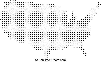 mappa, punteggiato, stati uniti