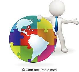 mappa, puzzle, mondo, uomo, globo, 3d