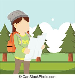 mappa, ragazza, viaggiatore, foresta, usando