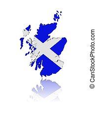 mappa, riflessione, render, scozia, illustrazione, bandiera, 3d