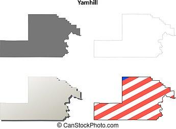 mappa, set, contorno, contea, yamhill, oregon