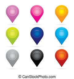 mappa, set, simbolo, bandiera, posizione, pennarello, gps, puntatore, icona