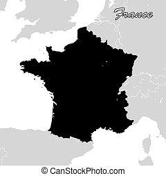 mappa, sihouette, politico, francia