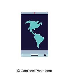 mappa, smartphone, app, americano, congegno, continente