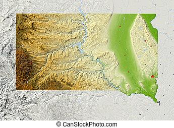 mappa, sollievo, dakota sud, ombreggiato