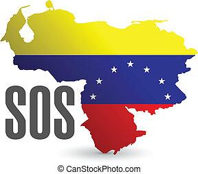 mappa, sos, venezuela, illustrazione, disegno