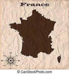 mappa, spiegazzato, vecchio, paper., illustrazione, francia, vettore, grunge