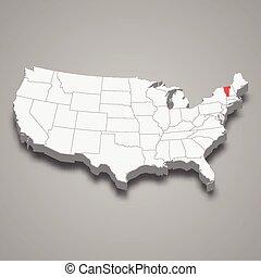 mappa, stati, stato, posizione, entro, unito, vermont, 3d