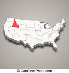 mappa, stati, stato, posizione, idaho, entro, unito, 3d