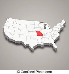 mappa, stati, stato, posizione, missouri, entro, unito, 3d