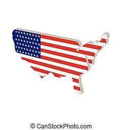 mappa, stati uniti, americano, struttura, bandiera, cartone animato, icona