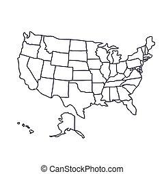 mappa, stati uniti, icona, isolato, disegno