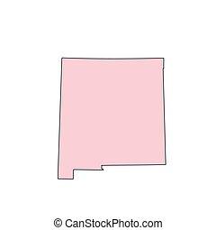 mappa, stati uniti, messico, isolato, silhouette., fondo, nuovo, bianco, state.