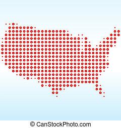 mappa, stati uniti, punteggiato