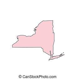 mappa, stati uniti, state., isolato, silhouette., york, fondo, nuovo, bianco