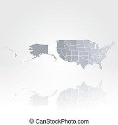 mappa, stati uniti, vettore, fondo, america