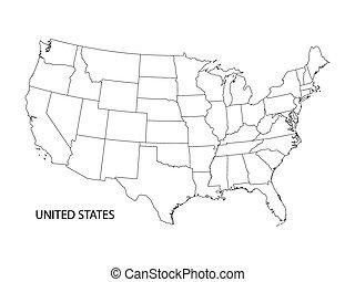 mappa, stati uniti, vettore, nero, bianco, america