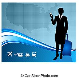 mappa, stati, unito, viaggiatore, affari