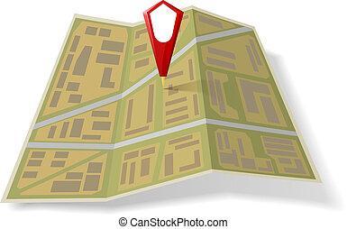 mappa, strada, puntatore, rosso