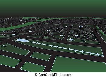 mappa, strada, verde