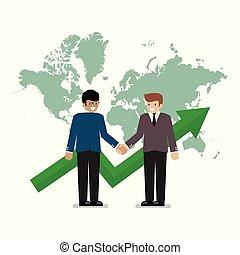 mappa, stretta di mano, fondo, affari, mondo