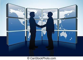 mappa, stretta di mano, persone affari, mondo, monitor