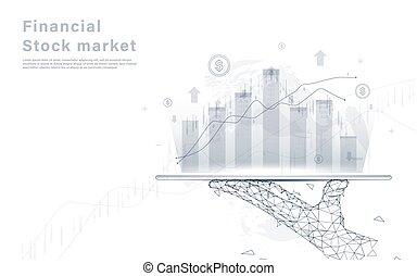 mappa, tavoletta, scambio, grafico, analisi, mano, fondo., presa a terra, mercato mondiale, casato