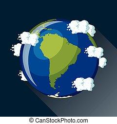 mappa, terra, america, vista, space., sud, pianeta