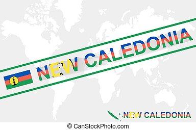 mappa, testo, illustrazione, bandiera, nuova caledonia