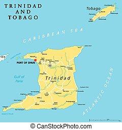 mappa, tobago, politico, trinidad