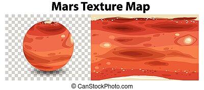 mappa, trasparente, struttura, pianeta, marte
