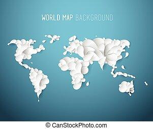 mappa, tutto, continenti, creato, testo, illustrazione, top., mette foglie, mondo