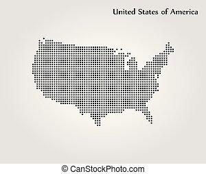 mappa, unito, illustration., stati, america., vettore, mondo