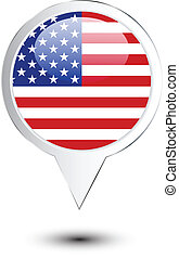 mappa, unito, perno, stati, bandiera, america
