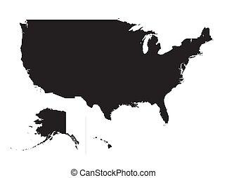 mappa, unito, silhouette, stati anneriscono, america